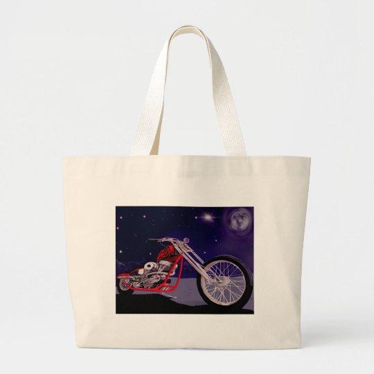 Motorcycle Moonlight Art Large Tote Bag