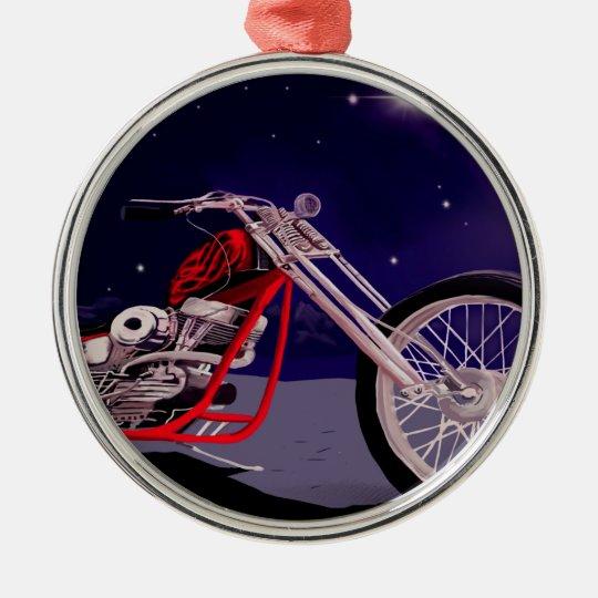 Motorcycle Moonlight Art Metal Ornament