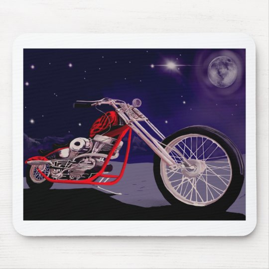 Motorcycle Moonlight Art Mouse Pad