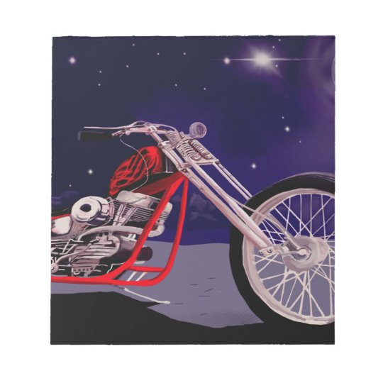 Motorcycle Moonlight Art Notepad