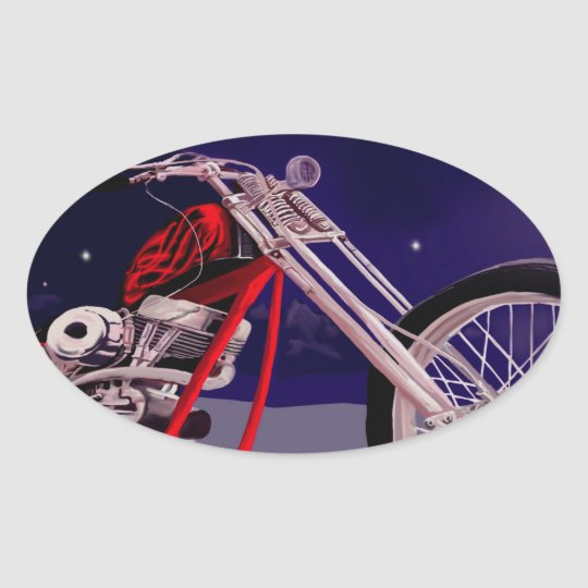 Motorcycle Moonlight Art Oval Sticker