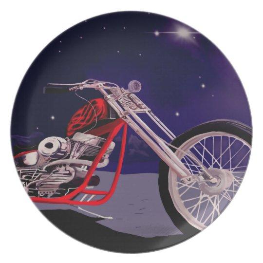 Motorcycle Moonlight Art Plate