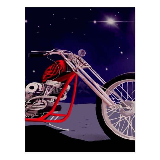 Motorcycle Moonlight Art Postcard