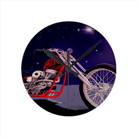 Motorcycle Moonlight Art Round Clock