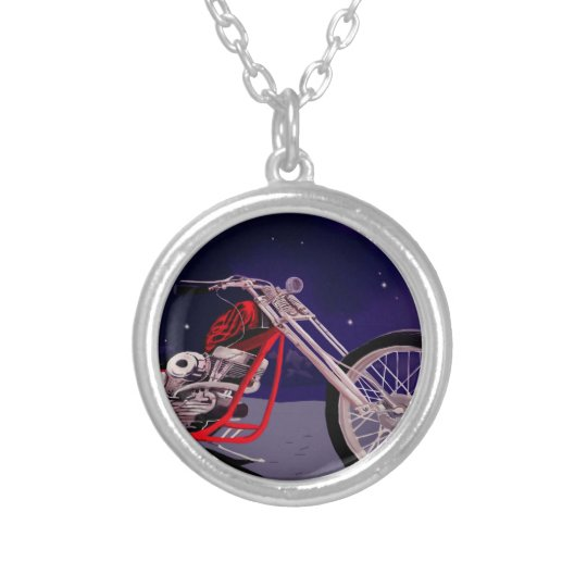Motorcycle Moonlight Art Silver Plated Necklace