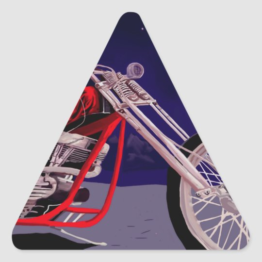 Motorcycle Moonlight Art Triangle Sticker
