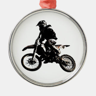 Motorcycle Motocross Silver-Colored Round Ornament