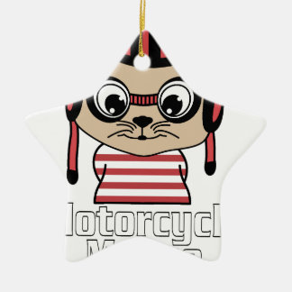 Motorcycle Mouse, rate cartoon vintage design Ceramic Ornament