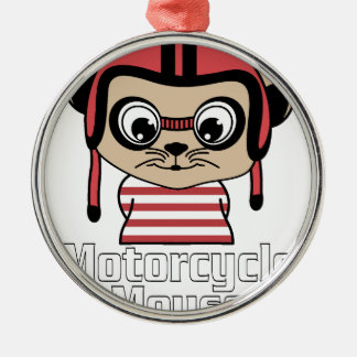 Motorcycle Mouse, rate cartoon vintage design Metal Ornament