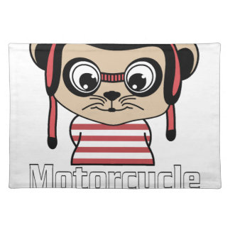 Motorcycle Mouse, rate cartoon vintage design Placemat