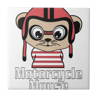 Motorcycle Mouse, rate cartoon vintage design Tile