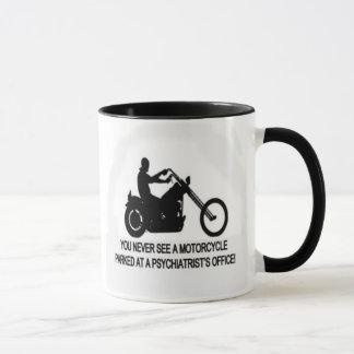Motorcycle Parked Outside A Psychiatrist's Office Mug