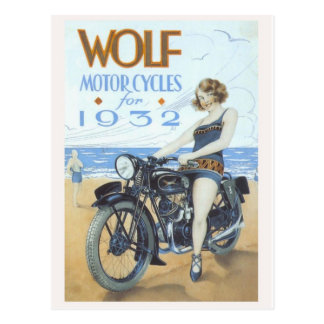Motorcycle Pinup Postcard