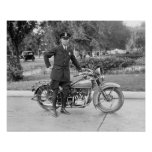 Motorcycle Police Officer, 1932. Vintage Photo Poster