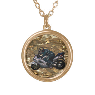 Motorcycle Power Biker Transport Gift Gold Plated Necklace