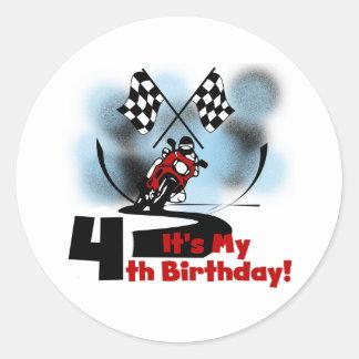 Motorcycle Racing 4th Birthday Tshirts Round Sticker