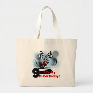 Motorcycle Racing 9th Birthday Jumbo Tote Bag
