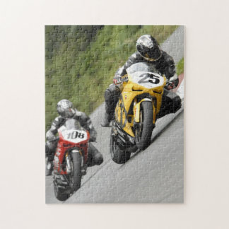 Motorcycle racing through the corner jigsaw puzzle