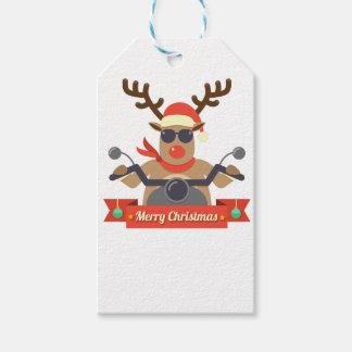 motorcycle  reindeer pack of gift tags