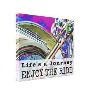 Motorcycle Ride Modern Art Neon   Biker Quote Canvas Print