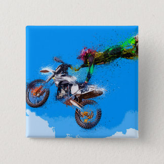 Motorcycle rider motocross jump 2 inch square button