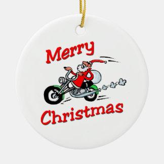 Motorcycle Santa Ceramic Ornament