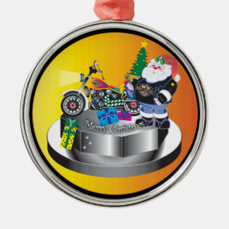 Motorcycle Santa Metal Ornament