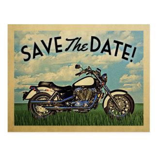 Motorcycle Save The Date Vintage Biker Wedding Postcard