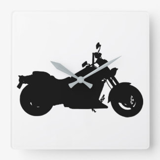 Motorcycle Silhouette Square Wall Clock
