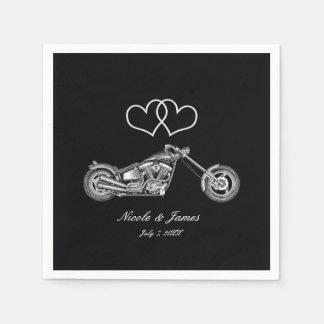 Motorcycle & Silver Hearts Biker Wedding Paper Napkin