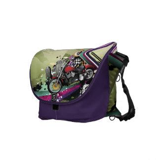 Motorcycle & Skull Surreal Urban Grunge Messenger Bag