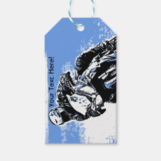Motorcycle Speed in Blue Gift Tags