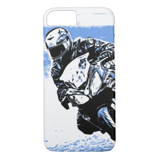 Motorcycle Speed in Blue iPhone 8/7 Case
