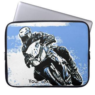 Motorcycle Speed in Blue Laptop Sleeve