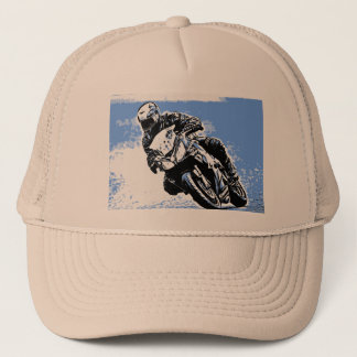 Motorcycle Speed in Blue Trucker Hat