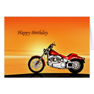 Motorcycle sunset birthday card