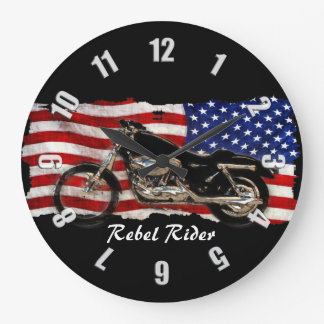 Motorcycle & US Flag Design Clock