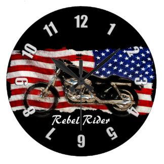Motorcycle & US Flag Design Large Clock