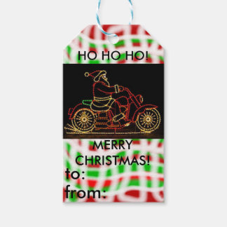 Motorcycle with Santa christmas gift tag Pack Of Gift Tags