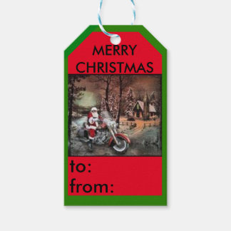 Motorcycle with Santa farmhouse gift tag