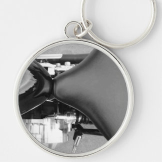 Motorcycles Motorcycle Parts Seat Fuel Tank Photo Silver-Colored Round Keychain