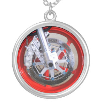 Motorcycles Motorcycle Wheel Red Rims Photo Silver Plated Necklace