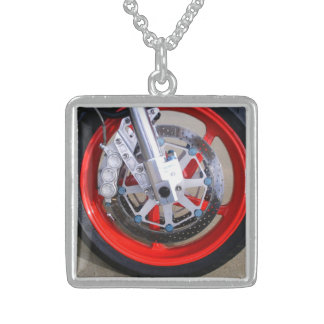 Motorcycles Motorcycle Wheel Red Rims Photo Sterling Silver Necklace