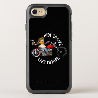 Motorcyclist biker motor bike wrinkles to live OtterBox symmetry iPhone 8/7 case