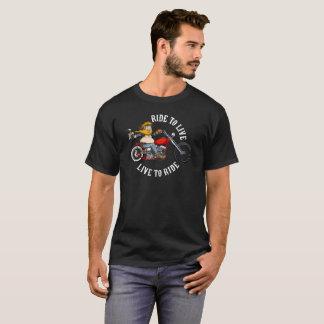 Motorcyclist biker motor bike wrinkles to live T-Shirt