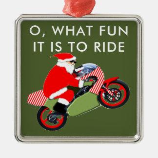 motorcyclist Santa Metal Ornament