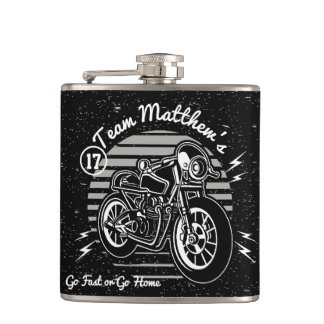 Motorcyle Biker Best Man Monogram Hip Flask