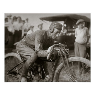 Motorcyle Racer, 1922. Vintage Photo Poster