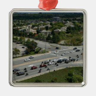 Motorcyle Ride Silver-Colored Square Ornament