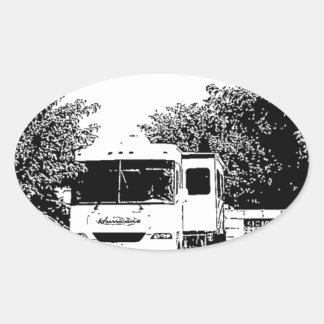Motorhome in RV Park Oval Sticker